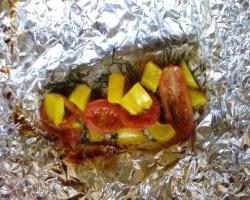 Диетическая рыба,  запеченная с овощами