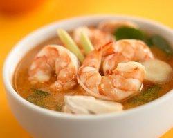 Пикантный крем-суп с креветками